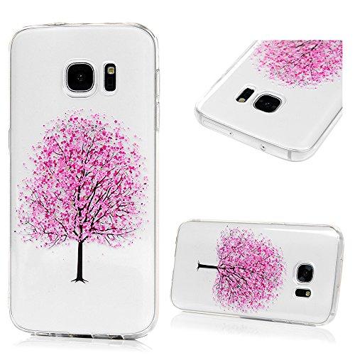 MAXFE.CO TPU Silikon Hülle für Samsung Galaxy S7 Handyhülle Schale Etui Protective Case Cover Rück mit Ultra slim Skin Volltonfarbe Design Skin Farbe Pflaumenbaum