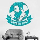 guijiumai Barber Shop Inscrivez-Vous sur Le Mur Sticker Citations Salon de beauté pour Hommes Affiche Murale Amovible en Vinyle Mural Artisanal Creative Store Décor L 3 M 64 cm x 56 cm