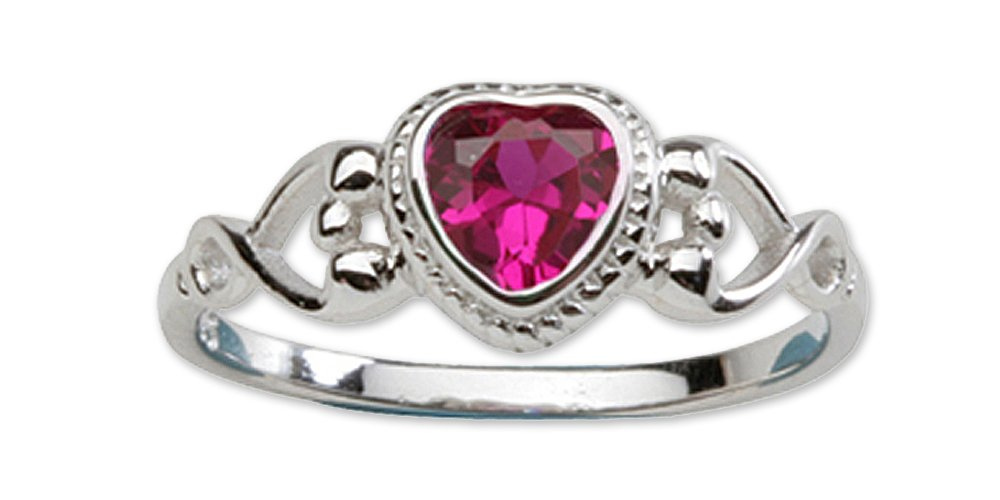 Precious Pieces Girl's Sterling Silver July CZ Birthstone Baby Ring