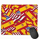 Spain Flag with America Flag Mouse Gaming Mouse Pad Non-Slip Smooth Desk Mat Washable Material 7.1 x 8.7 Inches(18x22CM)