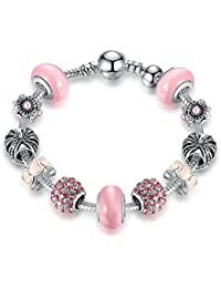 Peora Silver Plated Crystal Light Pink Charm Bracelet With Murano Glass Beads For Women Girls
