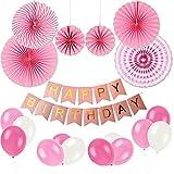Birthday Party Decoration Set, KUMEED Hanging Fiesta Paper Fan Happy Birthday Banner Latex Balloons Decoration Kit (Pink)