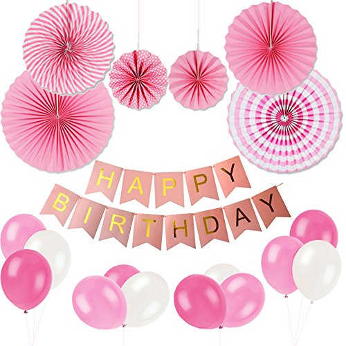 Birthday Party Decoration Set KUMEED Hanging Fiesta Paper Fan Happy Banner Latex Balloons Kit Pink