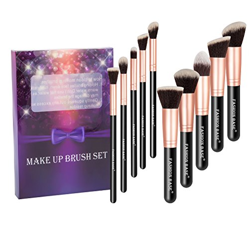 Ensemble de pinceaux à maquillage Fashion Base® style Kabuki, de qualité professionnelle, poils synthétiques, accessoires indispensables, pinceaux pour le visage, la poudre, le contouring, l'illuminateur de teint, le fond de teint, le maquillage liquide, l'anti-cernes, l'ombre à paupières, brosse à sourcils, ensemble cadeau (or rose)