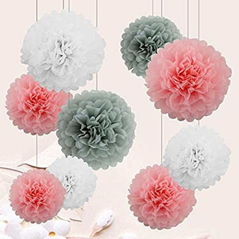9 PCS Mixte Pompons en Papier de Soie, Boules Fleurs Papier DIY Décoration de Baby Shower Noce Mariage Fête Anniversaire Chamber - Rose/Gris/Blanc - 15cm&25cm&35cm