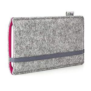 Stilbag maßgeschneiderte Handyhülle FINN - Anfertigung für Smartphones mit Case möglich   Farbe: hellgrau-pink   Smartphone-Tasche aus Filz   Handy Schutzhülle   Handytasche Made in Germany