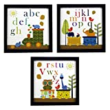 #3: INDIANARA 3 PIECE SET OF ALPHABETS STUDY KIDS ROOM DÉCOR FRAMED WALL HANGING ART PRINTS 8.7 INCH X 8.7 INCH WITHOUT GLASS