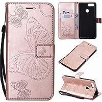 Funda Huawei Honor 7X Fanxwu PU Flip Cover Mariposa Estampado Wallet Case con la Función del Soporte Anti-Shock Bumper Funda Protectora-Oro Rosa