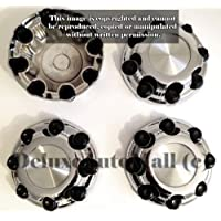 2000, 2001, 2002, 2003, 2004, 2005, 2006, 2007, 2008, 2009, 2010 GMC Sierra 1500 2500 HD / 3500 HD Chrome 8 LUGS Wheel Center Caps (Set of 4) - 8 WIDE by DeluxeAuto