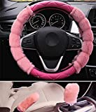 RUIRUI Faux Wool Coprivolante Copri Volante dell'automobile Copertura del Volante Universale 15', Pink