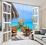 Cortina paño de la cortina de ocio Costa UV decorada vistas de la ventana de un dormitorio tela de la cortina de impresión 3D cálida terminado , wide 3.0x high 2.7