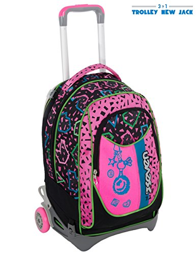 Trolley seven new jack - shift - nero rosa - sganciabile e lavabile - scuola e viaggio