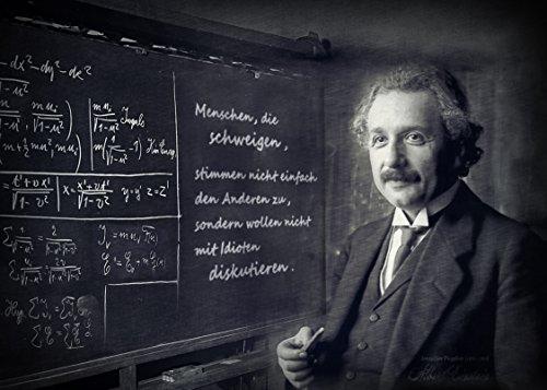 Kunstbild Albert Einstein mit Schultafel Schweigen Idioten Acrylglas, Alu, Mousepad, Tapete selbstklebend (Fototapete selbstklebend, 210 x 150 cm)