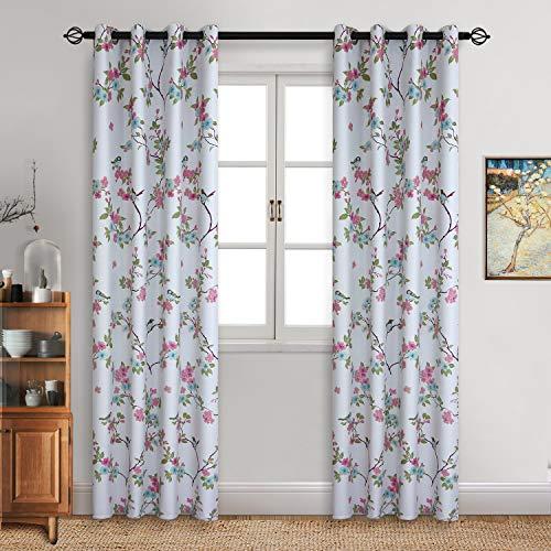 Bgment tende oscuranti con occhielli 2 pannelli stampa uccelli orientali fortunati e fiori motivo per sala/ufficio/camera da letto (2 x 117 x 137cm(l×a),bianco)