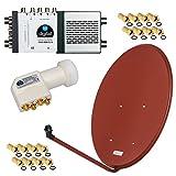 HD Digital ALU SAT Anlage 8 Teilnehmer 80cm Spiegel Schüssel Ziegelrot Rot + Quattro LNB + Multischalter für Full HD 3D Ultra HD (UHD) Signale + Stecker Gratis dazu im SET