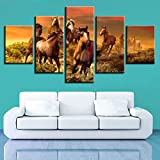 YDGG Wall Art Canvas Prints Painting 5 Pcs Animal Horse Pictures Living Room Poster Home Decor-40x60 40x80 40x100cm no frame