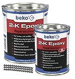 BEKO 23811000 2-K Epoxy Reparaturharz 1 kg, inkl. 10 x Estrichklammern