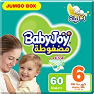 BabyJoy Compressed Diamond Pad, Size 6, Junior XXL, 16+ kg, Jumbo Box, 60 Diapers