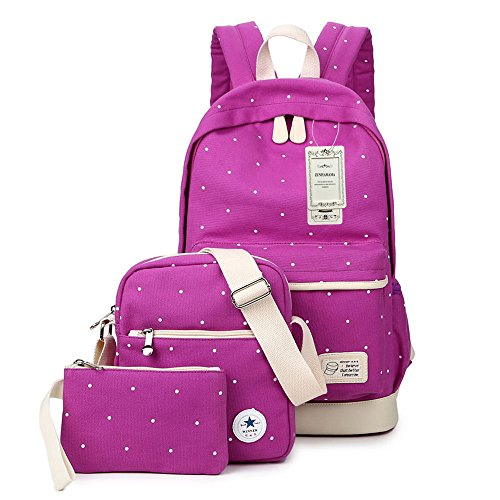 ZUNIYAMAMA Canvas Backpack Set Casual 3 Pieces Daypack/Shoulder Bag/Pencil Case School Bags Set for Teenage Girls
