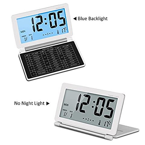 SOEKAVIA Travel Clock,Multifunction Silent LCD Digital Large Screen Travel Desk Electronic Alarm Clock, Date/Time/Calendar/Temperature Display,Snooze with Backlight White