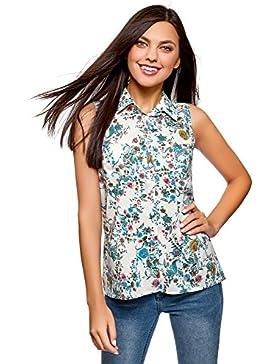 oodji Collection Mujer Blusa Larga de Algodón Estampado