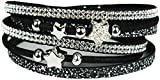 Mevina Damen Strass Armband Wickelarmband Glitzer Stern Magnetverschluss Shamballa Sternarmband Schwarz A1223