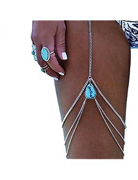 AnaZoz Bikini Dessous Beinkette Sommer Türkis Quaste Körperkette, Wassertropfen Anhänger Oberschenkelkette Silber...