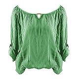 Damen Langarm, Frashing Gestreiftes T-Shirt mit langen Ärmeln Langarmshirt für Mädchen Gestreiftes Hemd Damen Kurzarm Shirt Damen Langarm T-Shirt Rundhals, Ärmel einstellbar