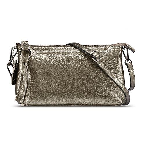 Lecxci Damen kleinleder umhängetasche tasche, reißverschluss-kupplungs-telefon geldbörse mit [3 card slots] Bronze Silver Small -