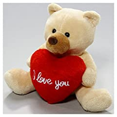 Idea Regalo - Carl Dick Peluche, Orso con cuore beige 13 centimetri / di Leosco 2563001