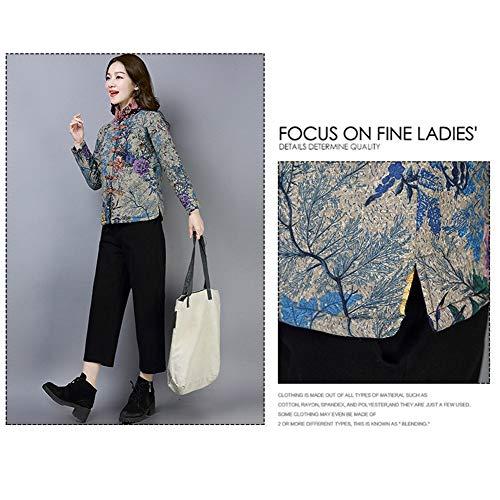 letter54 Frauenmantel Wurzel Frauen Winter Warme Baumwolle Leinen Print Tasten Mantel Outwear Damen Mantel Only Coat