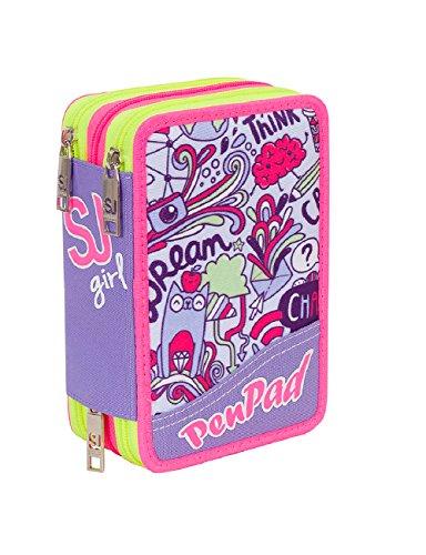 Estuche Escolar 3 Pisos Seven – SJ Boy – Violeta – con lápiz, marcadores, boligrafos.