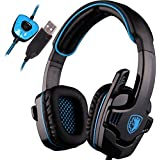 SADES SA901 Over Ear USB Wired 7.1 Surround Noise Cancelling PC Gaming Headset with Microphone (Black/Blue)