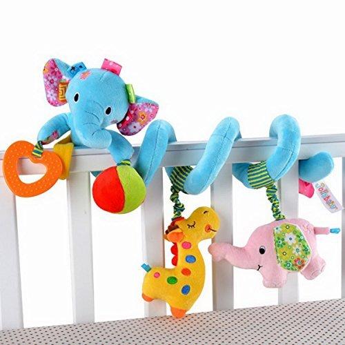 Elefant-Entwurf Säuglings-Baby-Activity-Spirale Bed & Kinderwagen Spielzeug-Bett rattert Glocke hängen Krippe Spielzeug, Blau (Carrier-entwurf)