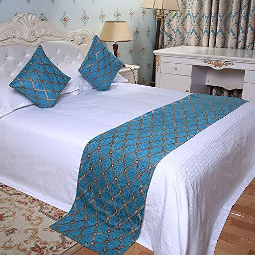 QLZQCQ Bettläufer Bett Renner Bettschal Home Hotel Bett Flagge Bett Handtuch Bettdecke Einzelstück High-End-Schlafzimmer Bett einfach jetzt,Chenille Square,2m Bett (50 * 260cm) -