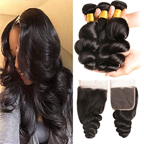 Huarisi Brazilian Loose Wave Bundles with Closure 12 14 16 and 10 Inch Free Part Hair Closure Baby Hair Grade 8a 300g Unprocessed Human Hair Extensions