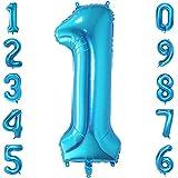 40-Zoll 0-9 in Blau Nummer Foil Ballons Helium Zahlenballon Luftballon Riesenzahl Party Hochzeit Kindergeburtstag Geburtstag