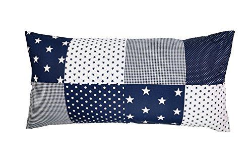 ULLENBOOM ® Patchwork Kissenbezug Blaue Sterne (40x80 cm Kissenhülle, 100{2dde0e2db503f4636aa6d8b9a306738d003bcd83382f5ad332b8dda52ff5877e} Baumwolle, ideal als Dekokissen, Kinderzimmer Zierkissen, Motiv: Sterne)