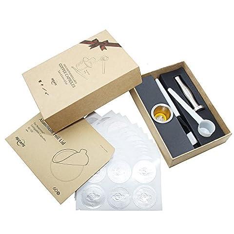 Recaps Wiederverwendbare Nespresso Kapseln Edelstahl Nachfüllbare Pods für Nespresso Maschinen (OriginalLine Compatible) (1 Pod +60 Seals +1 Tamper)