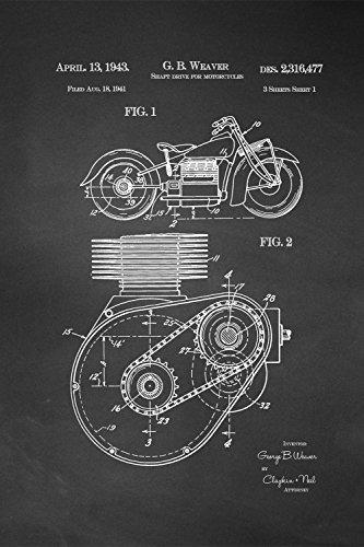 JP London spmurjsclt37Steampunk Zahnrädern Antriebswelle Motorrad Motor Art abnehmbarer Vintage Kreidetafel Patent Art at 91,4x 61cm