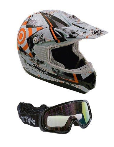 Casco del motociclo Box MX-5-casco Enduro fuoristrada quad casco Con occhiali: Arancione