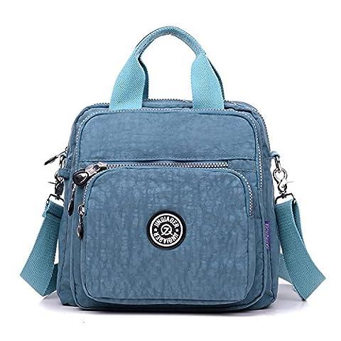 TianHengYi Girls Multifunction Water Resistant Nylon Top Handle Handbag Crossbody Satchel Purse Backpack Blue