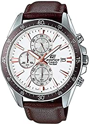 Casio Watch For Men, Analog, Chronograph, Leather, Black