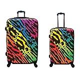 Kofferset, Gepäckset, Reisegepäck by Heys - Premium Designer Hartschalen Kofferset 2 TLG. - Novus Art Monarch Rainbow Handgepäck + Koffer mit 4 Rollen Gross
