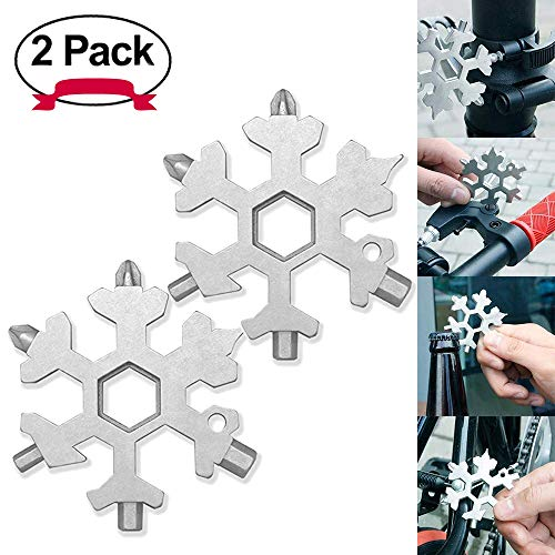 DAYNEW [2 Unidades] All-Powerful Tool Card-19-in-1 Stainless Steel Multi-Function Portable Snowflake EDC Keychain/Bottle Opener/Screwdriver for Outdoor Travel Camping/Regalo para Hombres-Plata