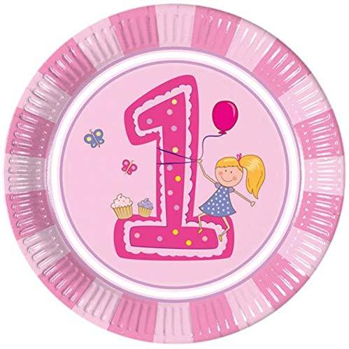 Geburtstag Mädchen Pappteller Groß 23cm, rosa ()