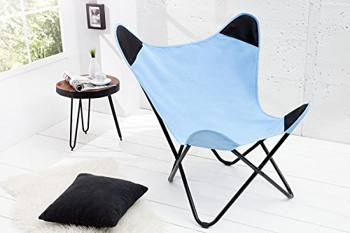 DuNord Design Sessel Stuhl TEXAS blau Leinen Loungesessel Esszimmer Butterfly Klappstuhl