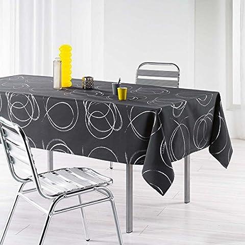 L'Harmonie du décor Nappe Imprimé Argent Bully Polyester Anthracite 240 x 150 x 240 cm