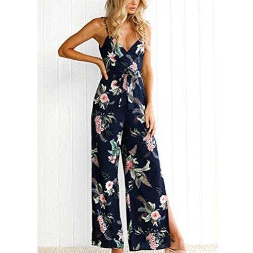 Manadlian Femmes Bodysuit Jumpsuit Combinaisons, Combinaison Femme V-Neck Floral Printed Combinaison de Pantalons sans Partie sans Manches Marine