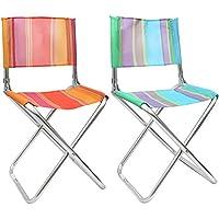 com-four® 2X klappbarer Regiestuhl aus leichtem Aluminium, in tollen Farben, 39 x 75,5 x 40,5 cm, ideal für Camping, Angeln, Outdoor etc. (02 Stück - Mix2)